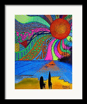 Stand Up Paddle Surfing Paintings Framed Prints