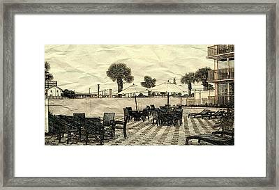 Daytona Patio Framed Print by Pamela Blayney