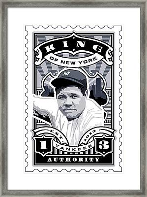 Dcla Babe Ruth Kings Of New York Stamp Artwork Framed Print by David Cook Los Angeles