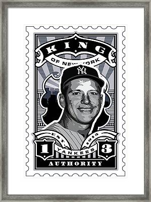 Dcla Mickey Mantle Kings Of New York Stamp Artwork Framed Print by David Cook Los Angeles