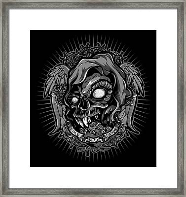 Dcla Skull Cold Dead Hand Gray 3 Framed Print by David Cook Los Angeles