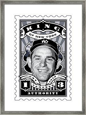 Dcla Yogi Berra Kings Of New York Stamp Artwork Framed Print by David Cook Los Angeles