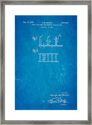 De Mestral Velcro Patent Art 1955 Blueprint Framed Print by Ian Monk