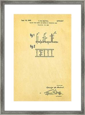De Mestral Velcro Patent Art 1955 Framed Print by Ian Monk