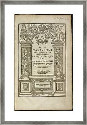 De Rebus Sacris Et Ecclesiasticis Framed Print