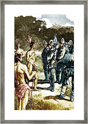 De Soto Meets Florida Indians, 1539 Framed Print