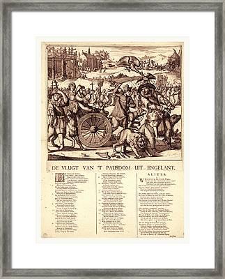 De Vlugt Van T Pausdom Uit Engelant, Hooghe, Romeyn De Framed Print by Litz Collection