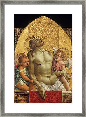Dead Christ Supported By Two Angels Framed Print by Carlo Crivelli