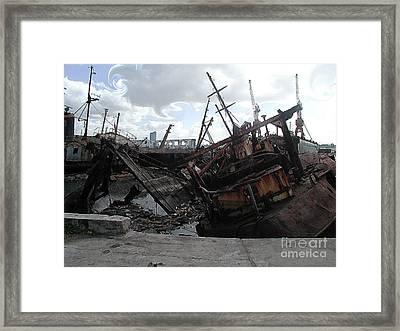 Dead Ship 4 Framed Print by Gustavo Mazzoni
