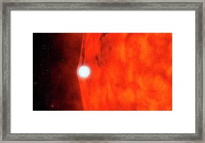 Dead Star Warping Light Of Red Star Framed Print by Nasa/jpl-caltech
