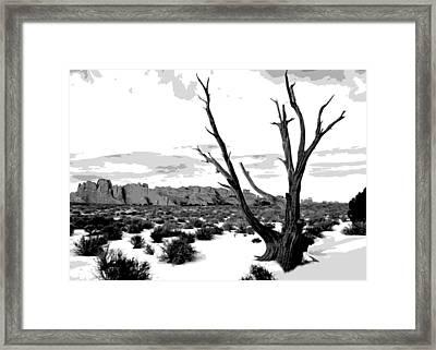 Dead Tree In Winter Framed Print by Jack McAward