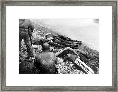 Dead U.s. Soldiers Omaha Beach Framed Print by Everett