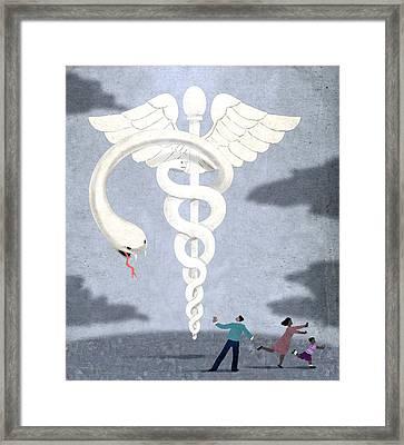 Deadly Caduceus Framed Print by Steve Dininno