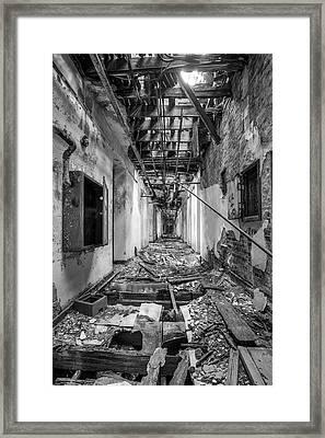 Deadly Corridor - Abandoned Asylum Building Framed Print by Gary Heller