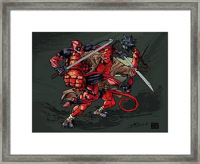 Deadpool Vs Hellboy Framed Print