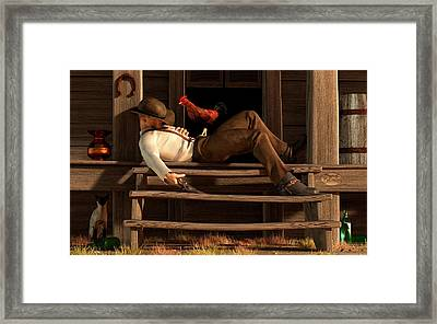 Deaf To The Rooster's Call Framed Print