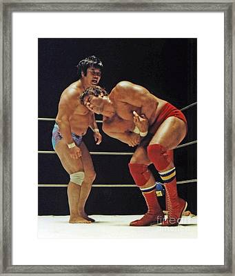 Dean Ho Vs Don Muraco In Old School Wrestling From The Cow Palace Framed Print by Jim Fitzpatrick
