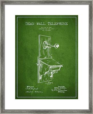 Dean Wall Telephone Patent Drawing From 1907 - Green Framed Print by Aged Pixel
