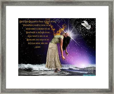 Dear God Framed Print by Dolores Develde