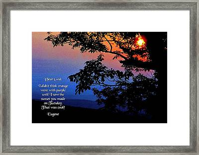 Dear God Framed Print by Mike Flynn
