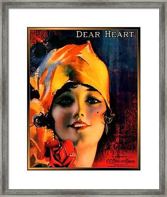 Dear Heart Pin Up Girl Framed Print
