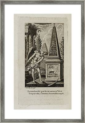 Death Being Conquered Bv The Bible Framed Print by British Library