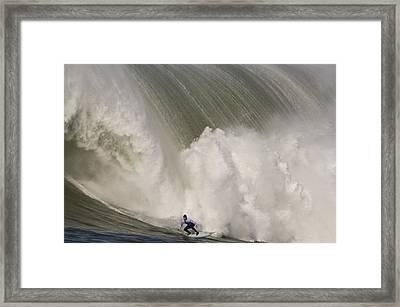 Death-defying Ride On A Surfboard Framed Print