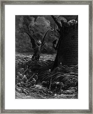 Death-fires Dancing Around The Becalmed Ship Framed Print by Gustave Dore