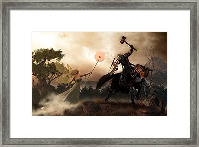 Death Knight And Fairy Queen Framed Print by Daniel Eskridge