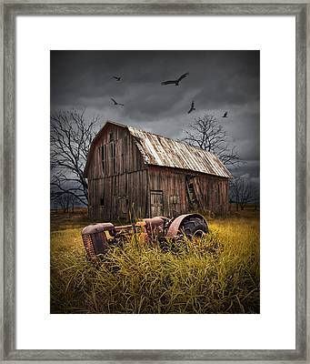 Death Of A Small Midwest Farm Framed Print