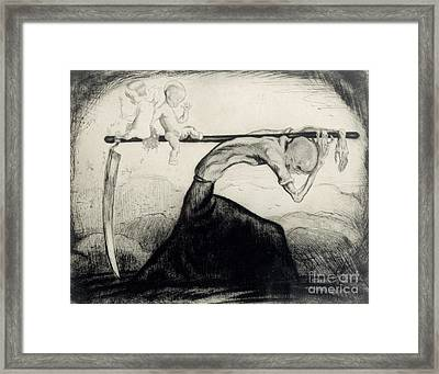 Death With Two Children Carried On His Scythe Framed Print by Michel Fingesten