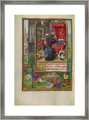 Deathbed Scene Master Of James Iv Of Scotland, Flemish Framed Print