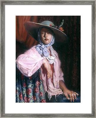 Deborah In A Big Hat Framed Print by Ellen Brown