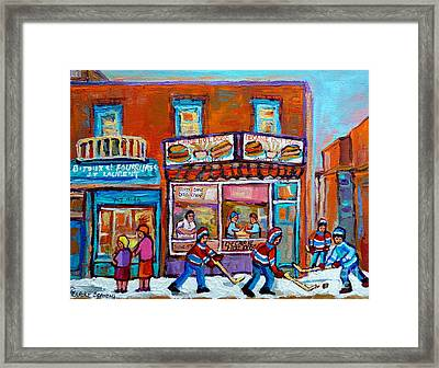 Decarie Hot Dog Restaurant Ville St. Laurent Montreal  Framed Print by Carole Spandau