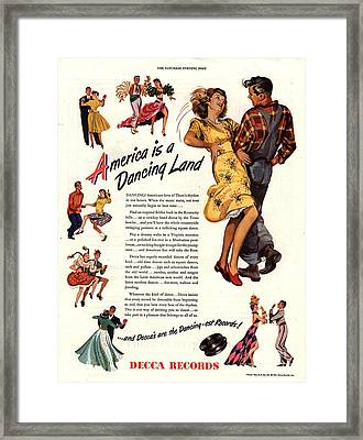 Decca Records 1940s Usa  Dancing Framed Print by The Advertising Archives
