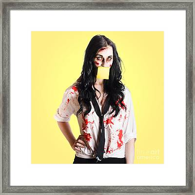 Deceased Business Woman With Memo Message On Face Framed Print by Jorgo Photography - Wall Art Gallery