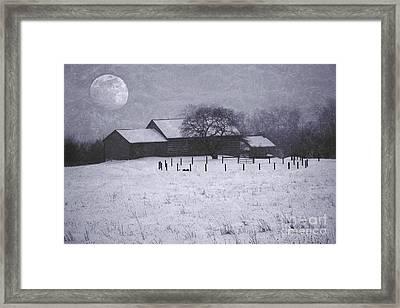 December Moonrise Farmstead Framed Print