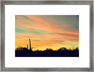 December Sunset Arizona Desert Framed Print by Jon Van Gilder