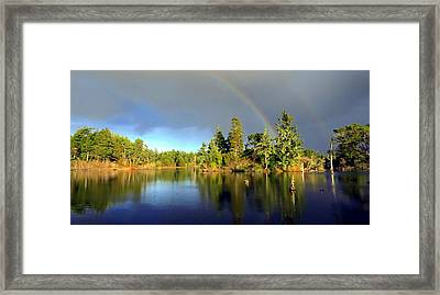 Decembers Double Rainbow Framed Print by Kristal Talbot