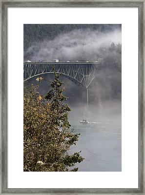 Deception Pass Bridge Fog Framed Print