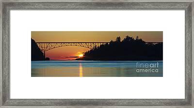 Deception Pass Bridge Sunset Framed Print