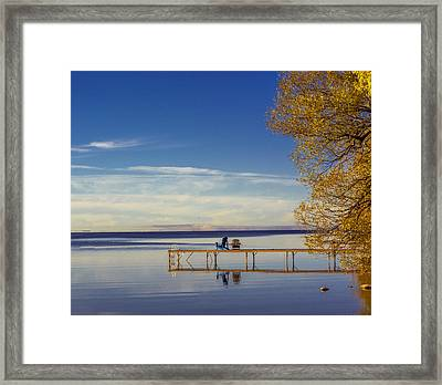 Deck Chairs On A Dock Framed Print