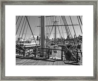 Deck Of Balclutha 3 Masted Schooner - San Francisco Framed Print by Daniel Hagerman