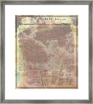 Declaration Of Independence Framed Print by Stephen Stookey