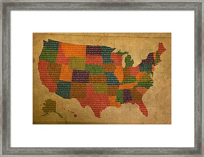 Declaration Of Independence Word Map Of The United States Of America Framed Print