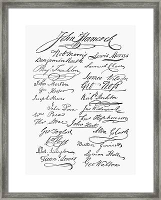 Declaration: Signatures Framed Print by Granger