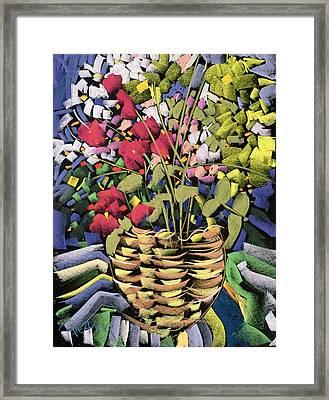 Deco Flowers Framed Print