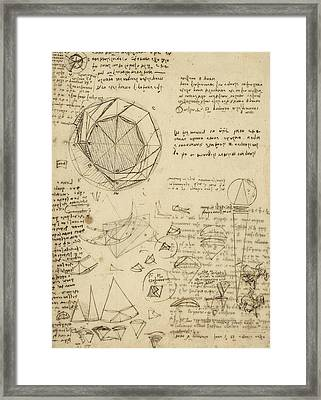 Decomposition Of Circle Into Bisangles From Atlantic Codex  Framed Print by Leonardo Da Vinci