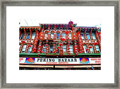 Decorated Building In Chinatown In San Francisco Framed Print by Jim Fitzpatrick