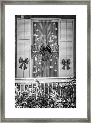 Decorated Christmas Window Key West  - Black And White Framed Print by Ian Monk